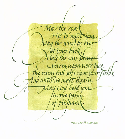 "The old Irish blessing was commissioned for a housewarming gift. Approx. 16"" x 20"""