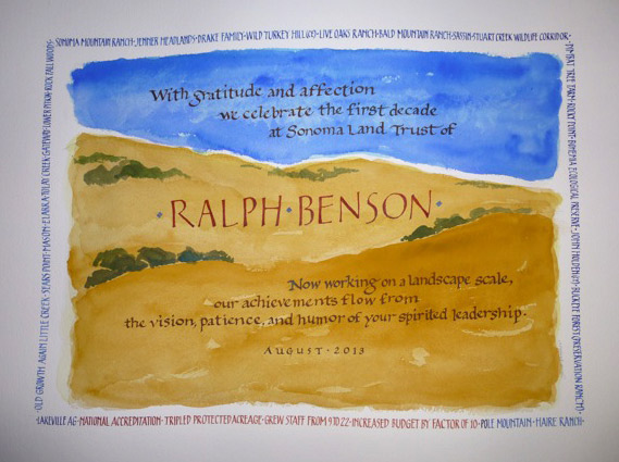 "Commission to honor Ralph Benson's service as director of Sonoma Land Trust. 18"" x 12"""
