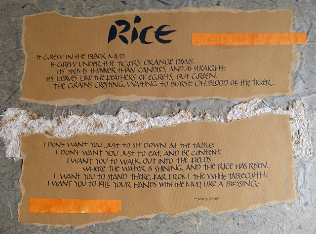 """Rice,"" poem by Mary Oliver, personal work which uses Oriental papers and a unique script to convey the content. 16"" x 20"""